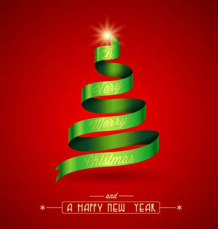 創造的なクリスマス ツリー、緑のリボンの上の「非常にメリー クリスマス」マッサージ。