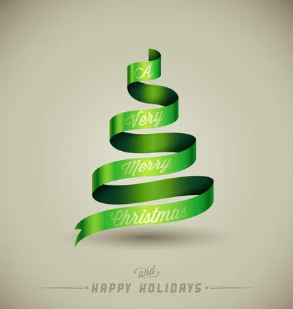 "Creative Christmas tree, "",A Very Merry Christmas"", massage over green ribbon."