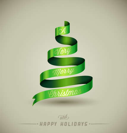 quot: Creative Christmas tree, &quot,A Very Merry Christmas&quot, massage over green ribbon.