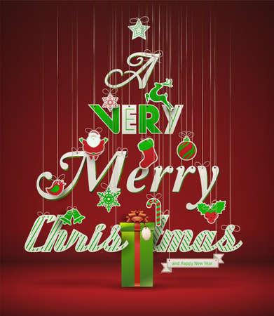 & quot、非常にメリー クリスマス & quot は, 創造的なクリスマス ツリー  イラスト・ベクター素材
