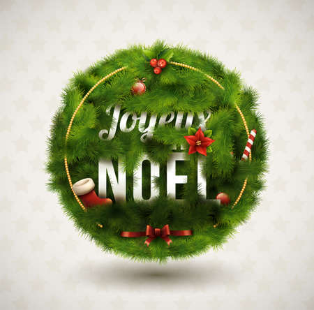 Joyeux Noël-Creative Christmas Label Stock Vector - 16243136