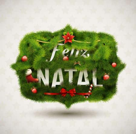 Feliz Natal-creativa de la Navidad Etiqueta Ilustración de vector