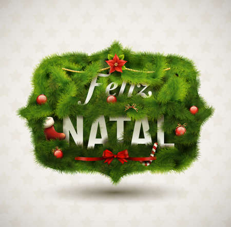 modern christmas baubles: Feliz Natal-Creative Christmas Label Illustration