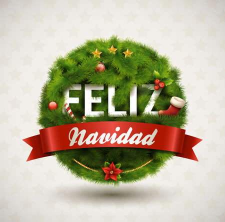 pine wreath: Feliz Navidad-Creative Christmas Label