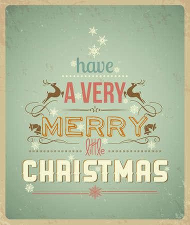 タイポグラフィ クリスマスのグリーティング カード、非常にメリー クリスマスを持っています。  イラスト・ベクター素材