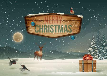 caja navidad: Vacaciones de invierno paisaje con cartel de madera Vectores