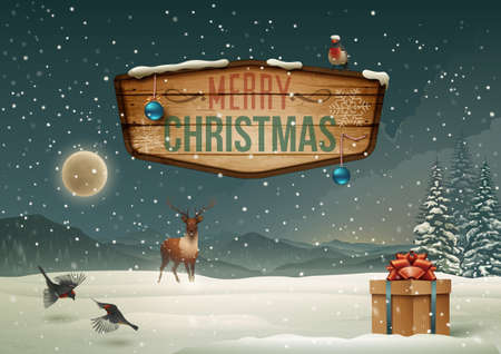 Winter holidays landscape with wooden sign  Vector