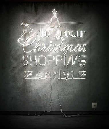 あなたのクリスマスのショッピングを早く、ネオンは古い壁の上に署名