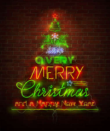 christmas lights: Christmas neon sign against red wall Illustration