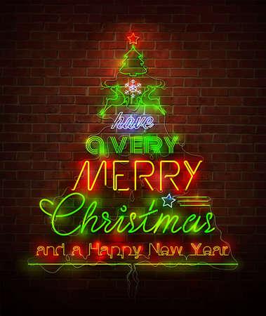 christmas lights: Natale al neon segno contro muro rosso Vettoriali