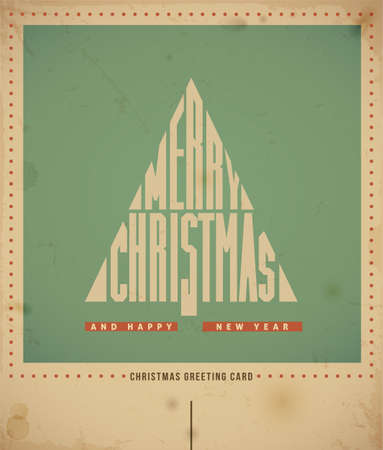 Retro Christmas Greeting Card, text  Merry Christmas  in a form of Christmas tree  illustration Vector