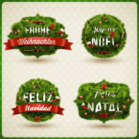 christmas tree set:  Merry Christmas  in different languages  German, Spanish, French, Portuguese   Creative Christmas label   Illustration
