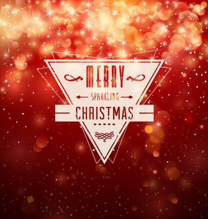 Retro Badge over red Christmas background