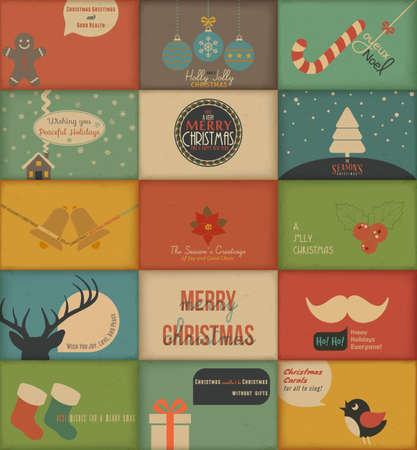 reno de navidad: Colecci�n de tarjetas de retro Vacaciones Vectores