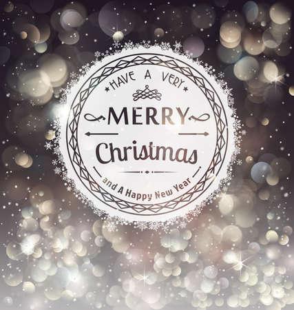 Retro Badge over Christmas background