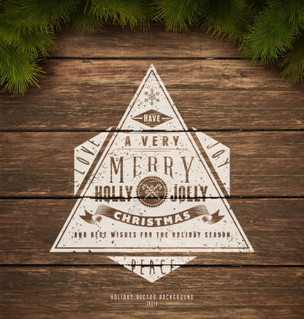 Painted wooden background with a vintage typography sign and Christmas fir tree Çizim