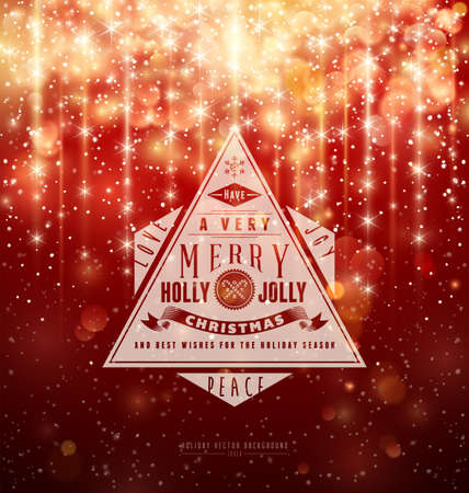 Retro Typography over red Christmas background Vettoriali
