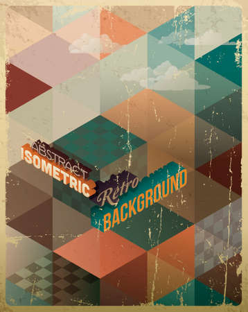 Abstract Retro Geometric Background with clouds  Vector