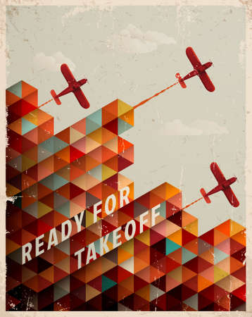 airplane: Retro Geometric Pattern with clouds and airplanes Illustration