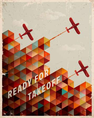 Retro Geometrische Patroon met wolken en vliegtuigen Stock Illustratie