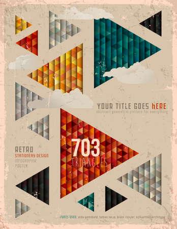 雲とレトロな三角形のポスター  イラスト・ベクター素材
