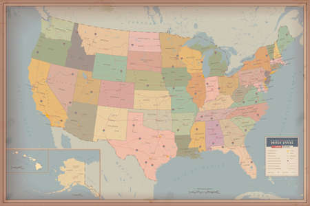 vintage world map: Highly Detailed Map of United States  Highway and Population Map