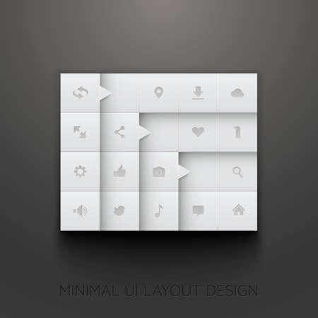 最小限の UI のレイアウト設計  イラスト・ベクター素材