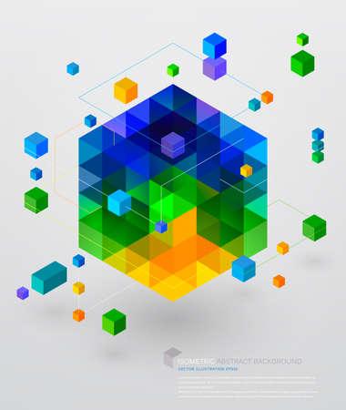 technologie: Isometric abstraktní pozadí Ilustrace