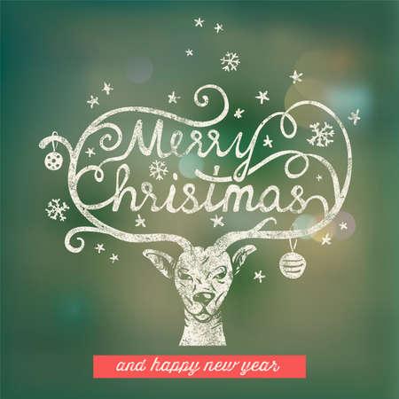 bokeh message: Christmas handwritten typography Illustration