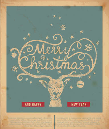 reindeers: Christmas handwritten typography Illustration