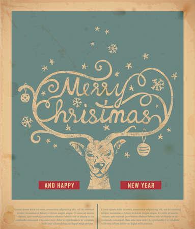 reindeer christmas: Tipograf�a manuscrita Navidad
