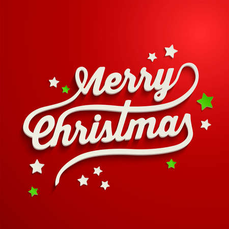 Merry Christmas white lettering over red background Vector