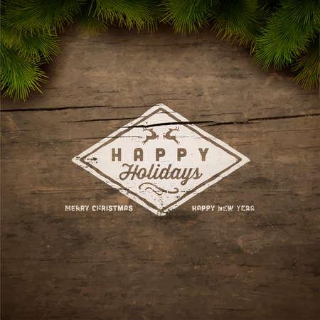 그린 휴일 타이포그래피와 크리스마스 전나무 트리 일러스트