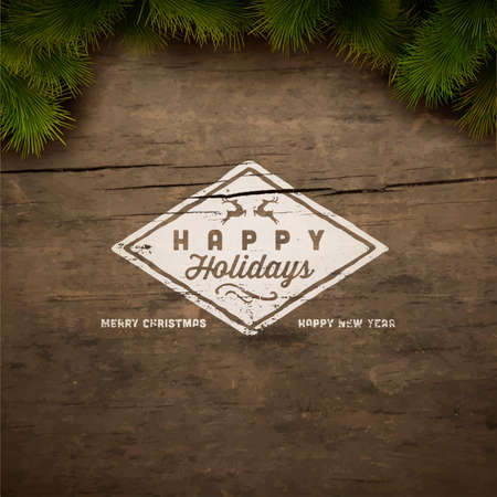 Painted holiday typography and Christmas fir tree Illustration