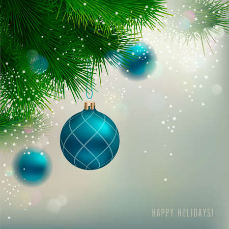 Christmas Background with ornaments and Christmas fir tree