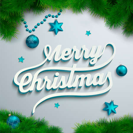 Merry Christmas lettering over holiday background Vector