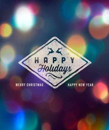 Holidays Handwritten Typography over blurred background Vettoriali