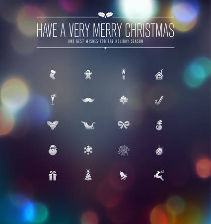 Christmas and New Year Icons collection over defocused background