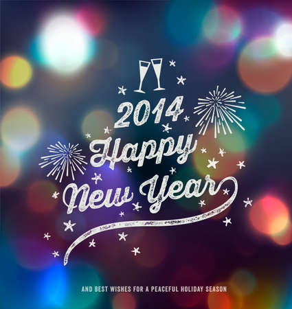 New Year, Handwritten Typography over blurred background Vector