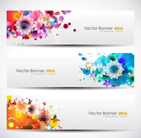 Spring Floral Banner Header Set Illustration
