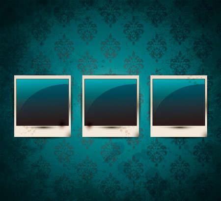 Elegant Vintage empty Photo frame Background Vector
