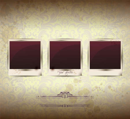 Elegant Vintage empty Photo frame Background Vector