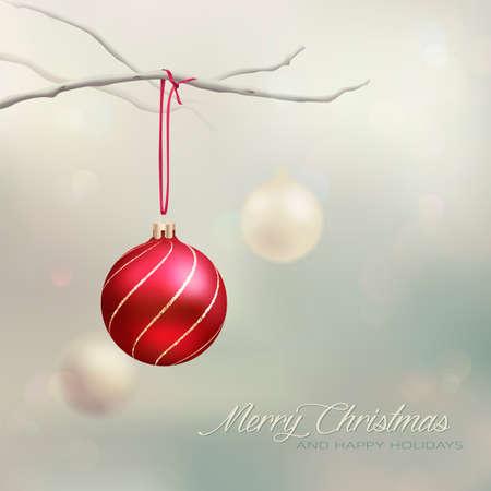 muerdago navide�  � �±o: Tarjeta elegante de la Navidad  Antecedentes