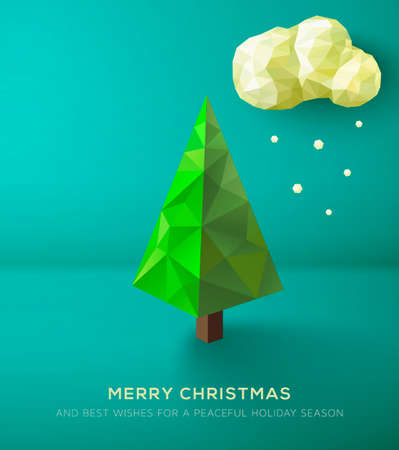Christmas Card. Geometric polygonal tree against green landscape Vector