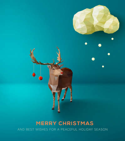 faceted: Christmas Card. Geometric polygonal reindeer against blue landscape