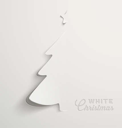 ホワイト クリスマス、最小限のクリスマス カードのデザイン  イラスト・ベクター素材