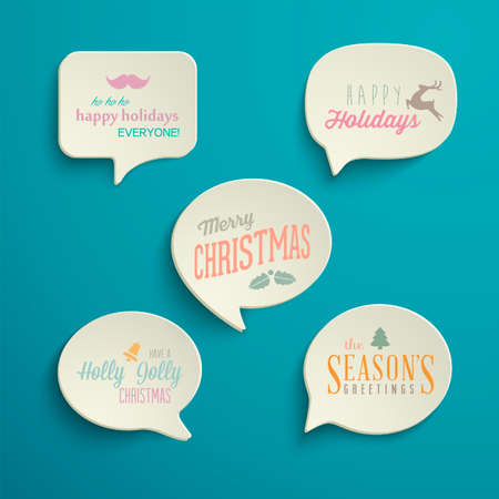 Collection of Holiday Speech Bubbles with various messages Çizim