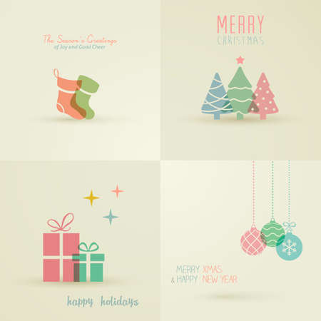 a holiday greeting: Holiday Cards Collection Illustration