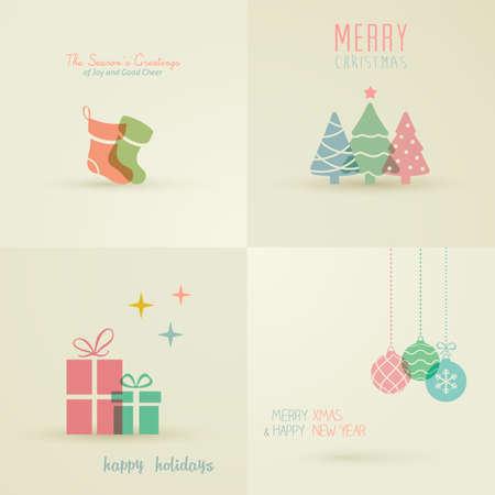 navide�os: Tarjetas Holiday Collection Vectores
