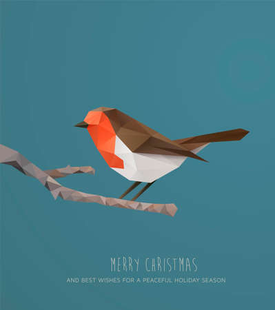Christmas Card. Geometric polygonal Robin on a branch
